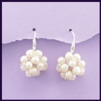 Natural Pearl Cluster Sterling Silver Earrings